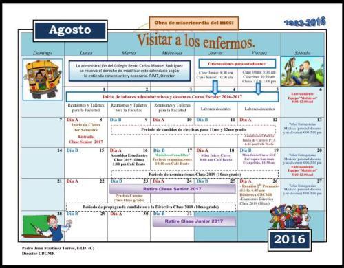 Calendario preliminar de agosto 2016