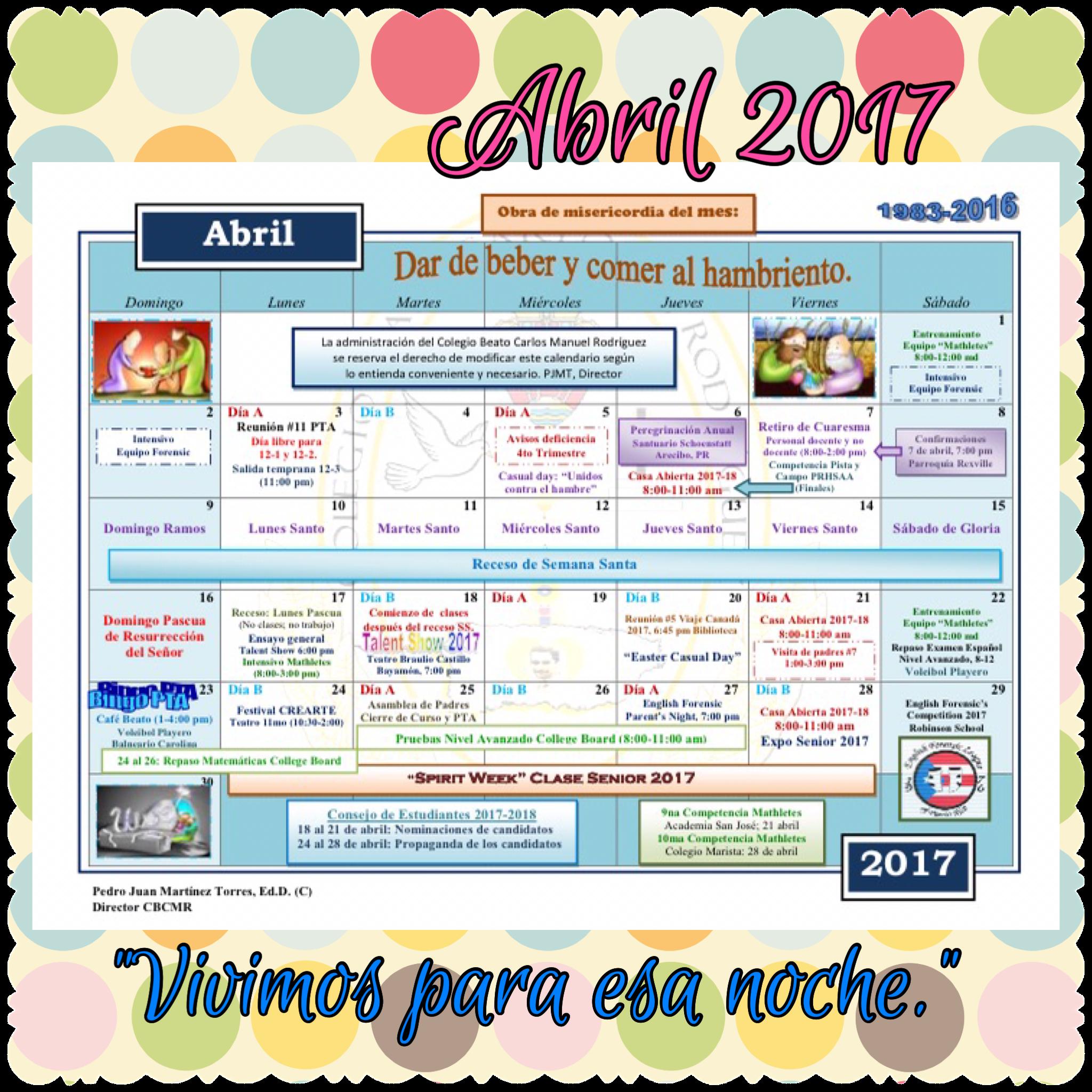 Calendario Repas.Calendario Colegio Beato Carlos Manuel